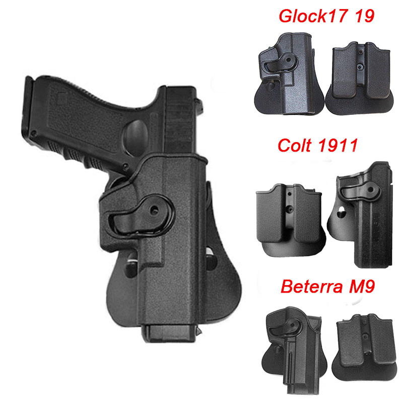 Tactical Airsoft Gun Holster for Glock 17 19 Colt 1911 Beretta M9 Pistol Holster Gun Case Clip Pouch Combat Hunting Accessories