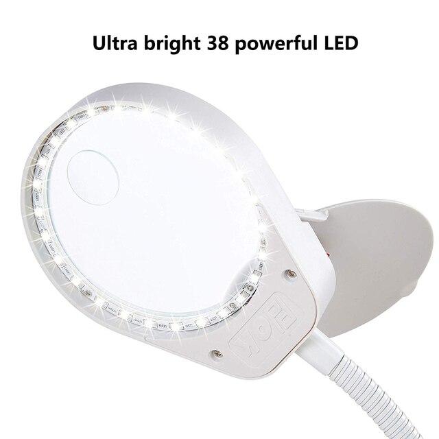 Loupe éclairée 2 en 1 avec support et pince LED lumineuse 3x10x 8x15x lampe de bureau loupe pour la lecture, le travail étroit, la soudure