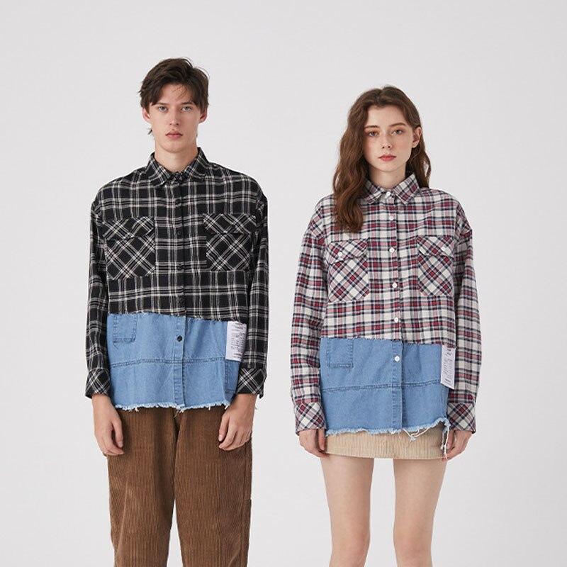 Men Women Fashion Casual Long Sleeve Loose Denim Splice Plaid Shirt Male Vintage Streetwear Hip Hop Couple Shirt