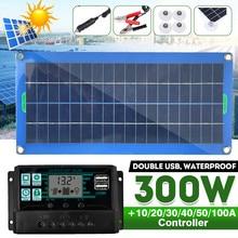 Kit completo de paneles solares para coche, cargador de batería de 300W, 12/5V CC, USB, con controlador Solar de 60A/100A, para yate, autocaravana