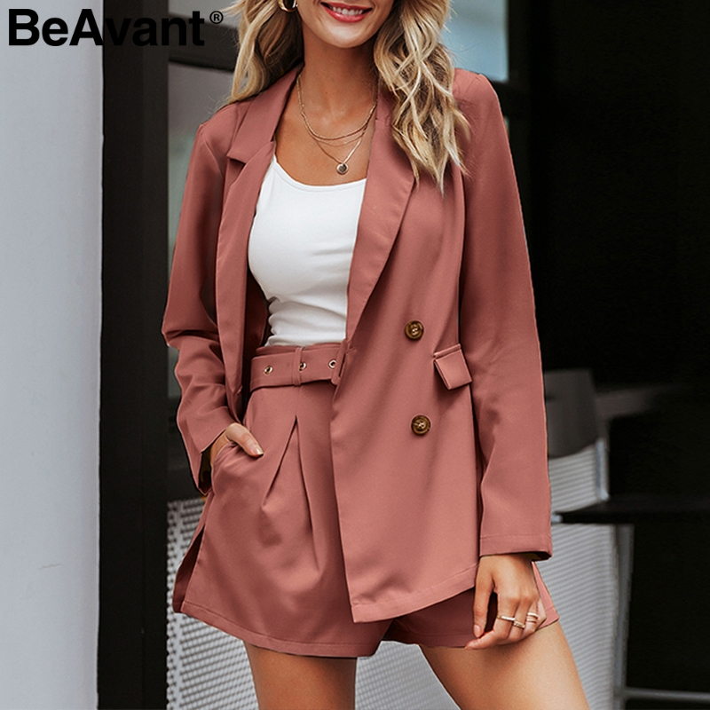 BeAvant Elegant Two-piece Blazer Suits Casual Streetwear Office Ladies Blazer Sets Buttons Pockets Sash Belted Women Shorts Suit