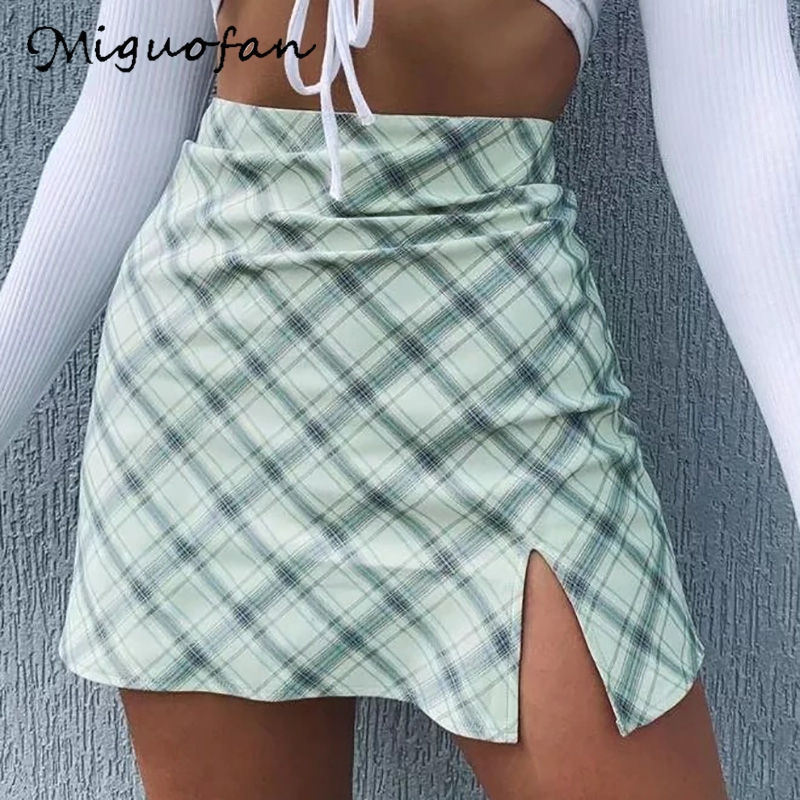 Miguofan Green Plaid Printting Skirts High Split High Waist Skirts For Women High Waist Skirts Vintage Female  Lady Spring 2020