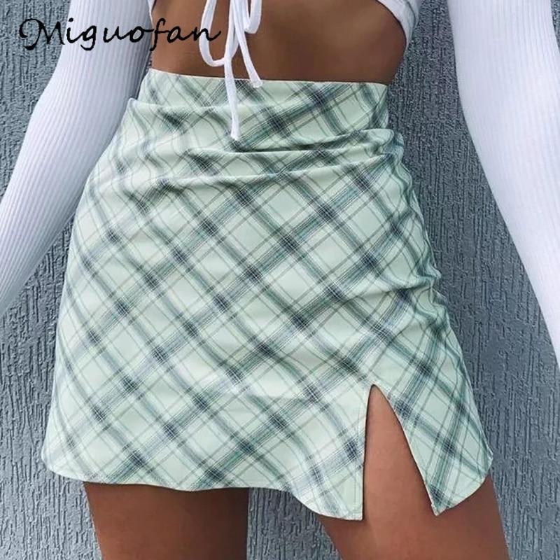 Miguofan Green Plaid Printting Skirts High Split High Waist Skirts For Women High Waist Skirts Vintage Female  Lady Spring 2020