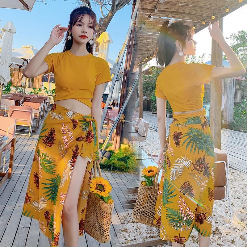 Korean Tankini Set Swimming Suit For Women Print Bikinis Three Piece Holiday Split Swimsuit Female Hot Spring Bathing Suit