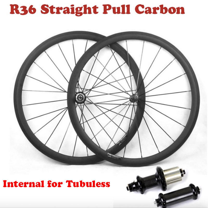Carbon Road Bike Wheelset Profile 35/38/45/50/55/75mm with Internal for Tubuless 700C Bicycle Wheels with Straight Pull R36 HubBicycle Wheel   -