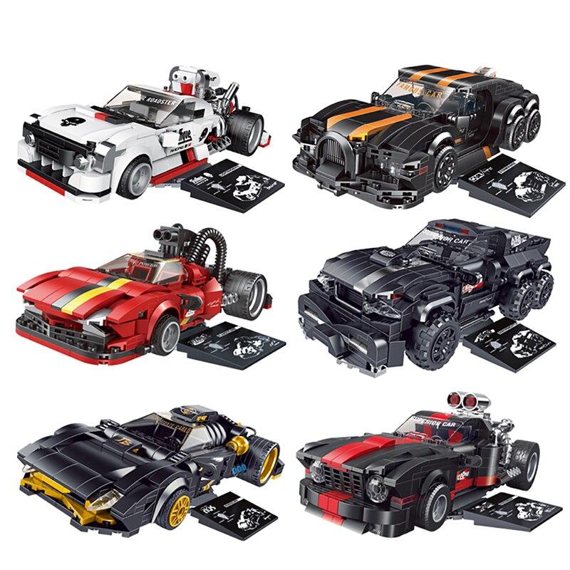2021 г., серия «взрывоопасные изменения», спортивный автомобиль, белый молниевый строительный блок, «сделай сам», кирпичи, строительные игруш...