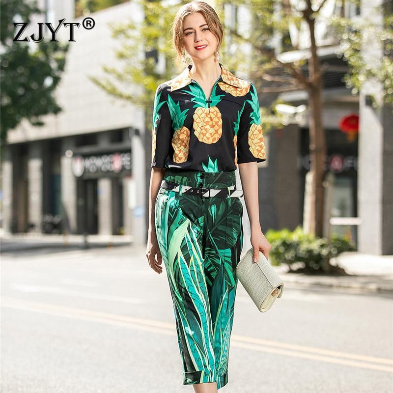 Top Fashion Women Runway Set 2Piece Set 2020 New Spring Summer Pants Suit Set Elegant Half Sleeve Print Top And Pants Set Outfit