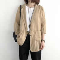 2019 Women Solid Color Cotton Linen Blazer Office Lady Slim Business Work Jacket Casual Three Quarter Loose Suit