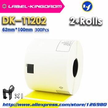 2 Rolls Yellow Color Compatible DK-11202 Label 62mm*100mm 300Pcs for Brother Label Printer QL-700/800 DK11202 DK-1202