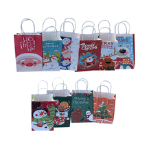 10Pcs/lot Christmas Day gift Paper Bag Multifuntion Festival bags with Handles Party Supply For  21X13X8cm