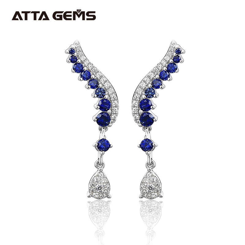 Blue Sapphire Sterling Silver Earring Classic Charming Style S925 Created Sapphire Women Wedding Engagement Jewelry Top Quality