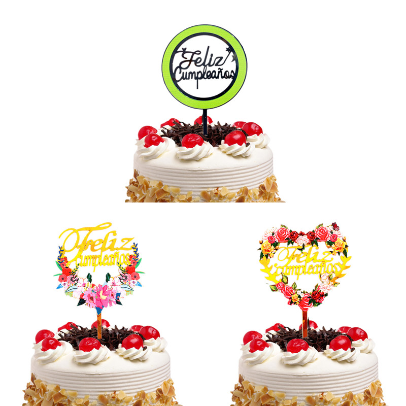 Cake Toppers Spainish Feliz Cumpleanos Happy Birthday Acrylic Cupcake Cake Topper Flags Baby Shower Decor Cake Baking DIY Party-0