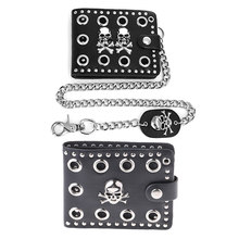 THINKTHENDO Leather Cool Punk Gothic Western Skull Clutch Purse Wallets With Chain For Men(China)