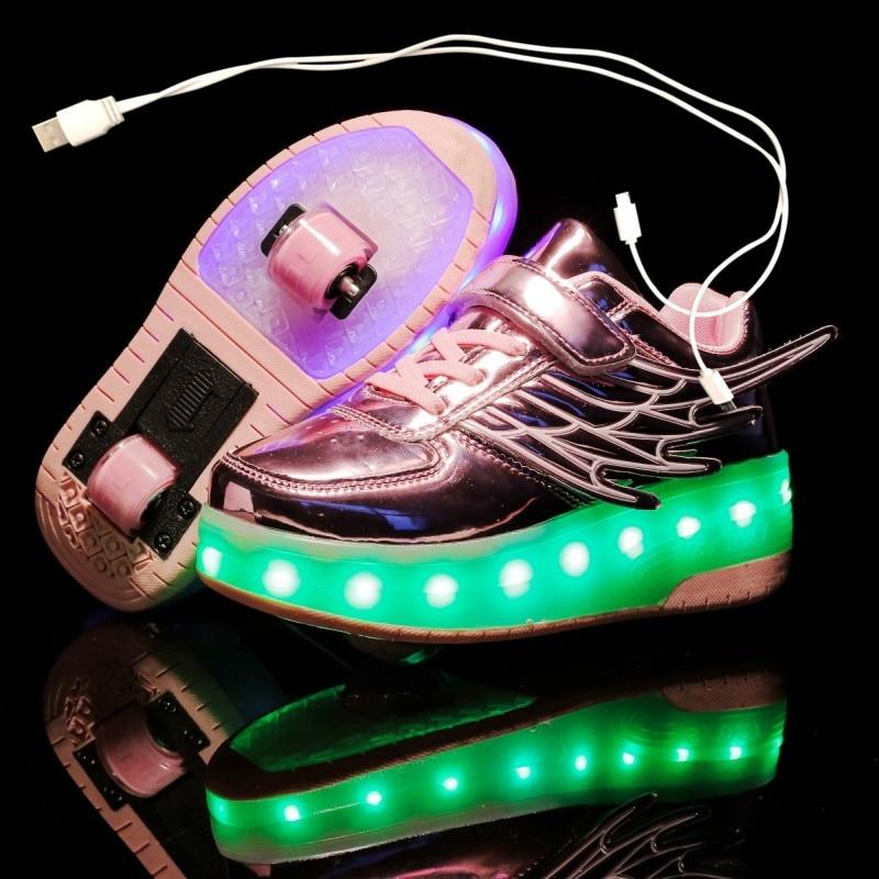 Children Two Wheels Luminous Glowing Sneakers Black Gold Led Light Roller Skate Shoes Kids Led Shoes Boys Girls USB Charging