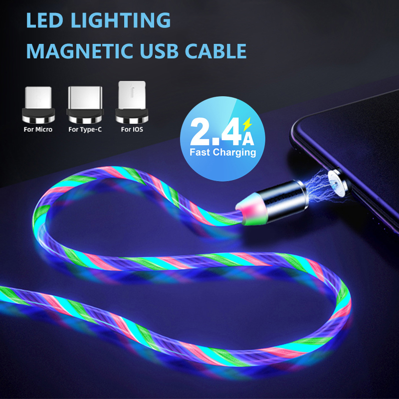 Lighting Fast Charging Magnetic USB Type C Cable Magnetic Cable USB Micro Charger Cable Wire for Xiaomi iPhone Huawei Samsung 1