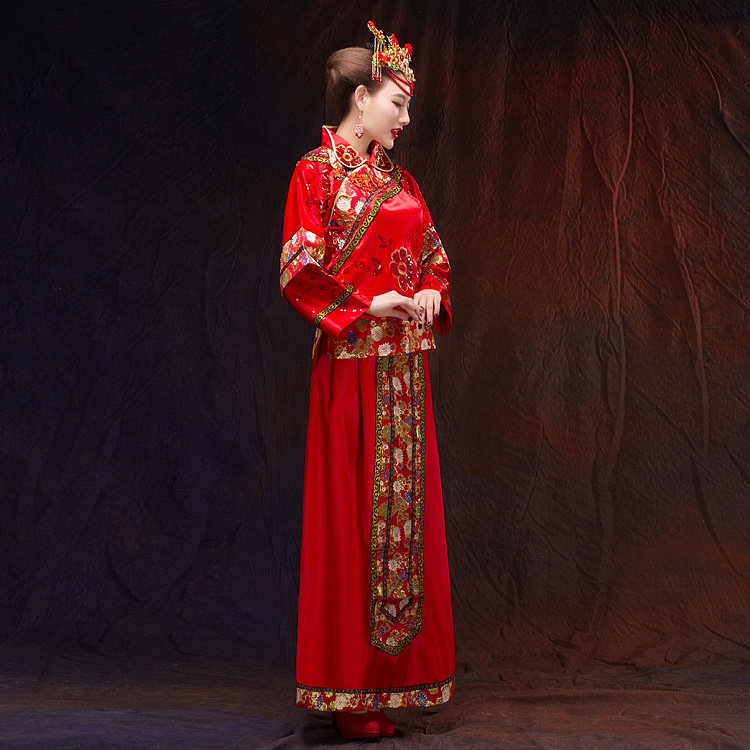 2015 New Style Origional Chinese Style Red Bride Xiu Formal Dress Wedding Dress Marriage Toast Set Show And Support