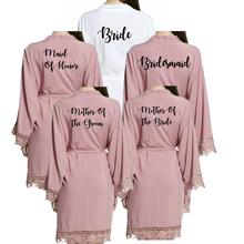 Owiter New Bridesmaid Cotton Kimono Sexy Robes w/ Lace Trim Women Wedding Bridal Robe Short Belt Bathrobe Bride Tribe Party Gown