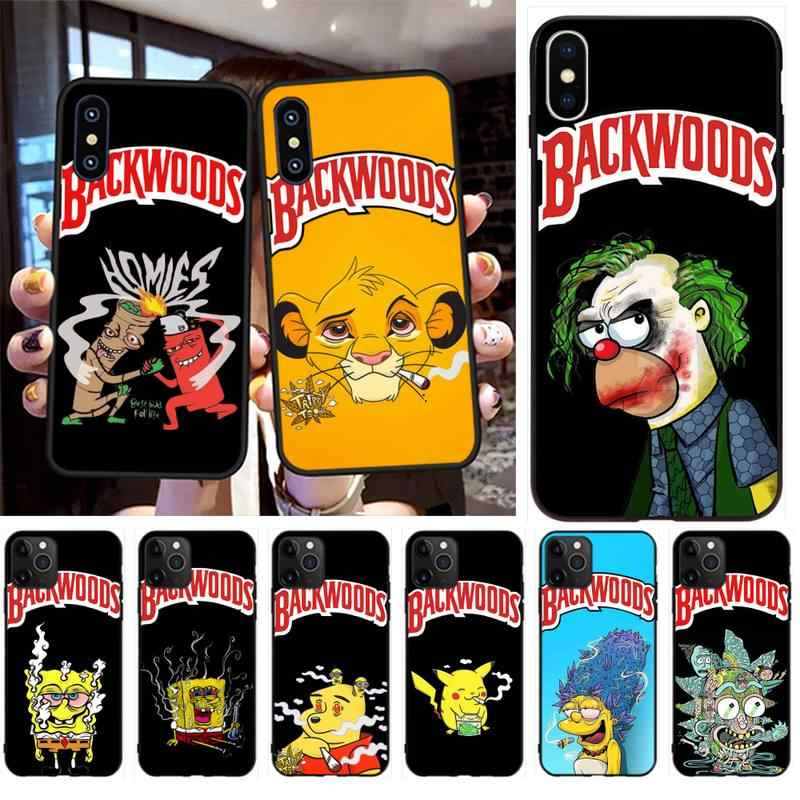 PENGHUWAN cartoon weed smoking spongebob Pikachu backwoods Phone Case for iPhone 11 pro XS MAX 8 7 6 6S Plus X 5S SE XR case