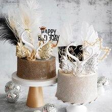 Романтические украшения для торта золотого и серебряного цвета с лебедем, платье для дня рождения, марлевая корона с перьями, вечерние украшения для свадебного торта