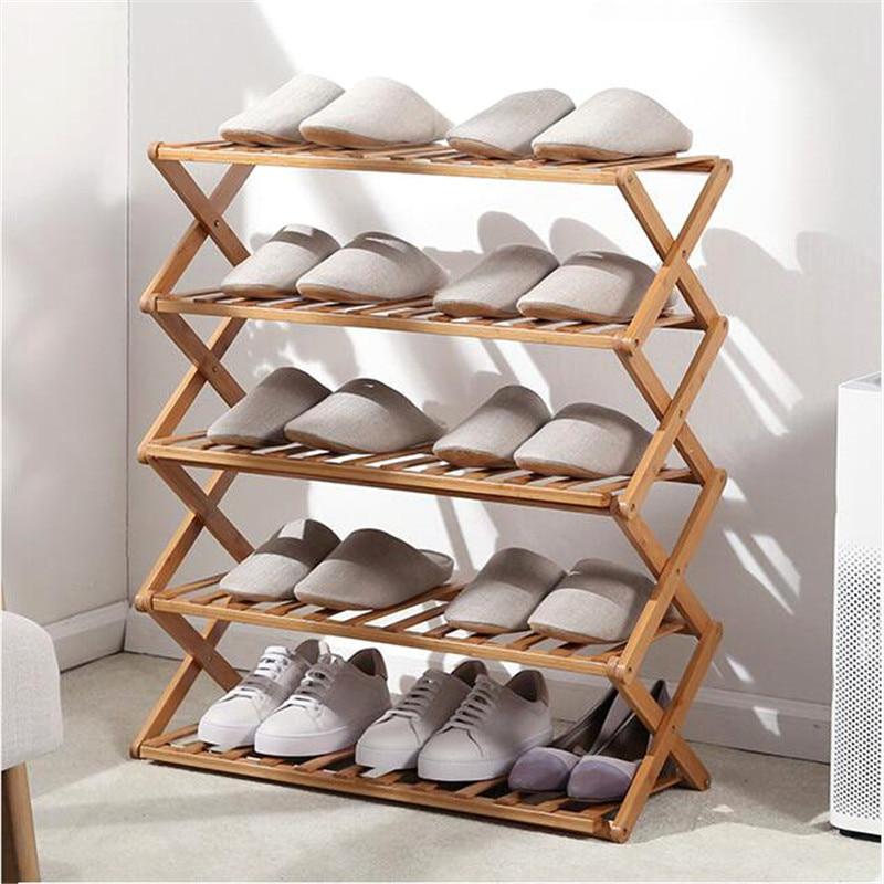 Multi-layer Shoe Rack Foldable Shoes Storage Rack Shoe Shelf Organizer Holder Hallway Dormitory Doorway Bamboo Shoe Cabinet 1
