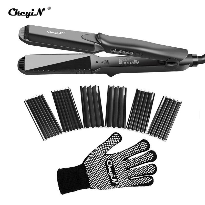 4-en-1 cheveux en céramique interchangeables vague de fer plat ondulation défriser les cheveux fer plat coiffure coiffure pince à cheveux