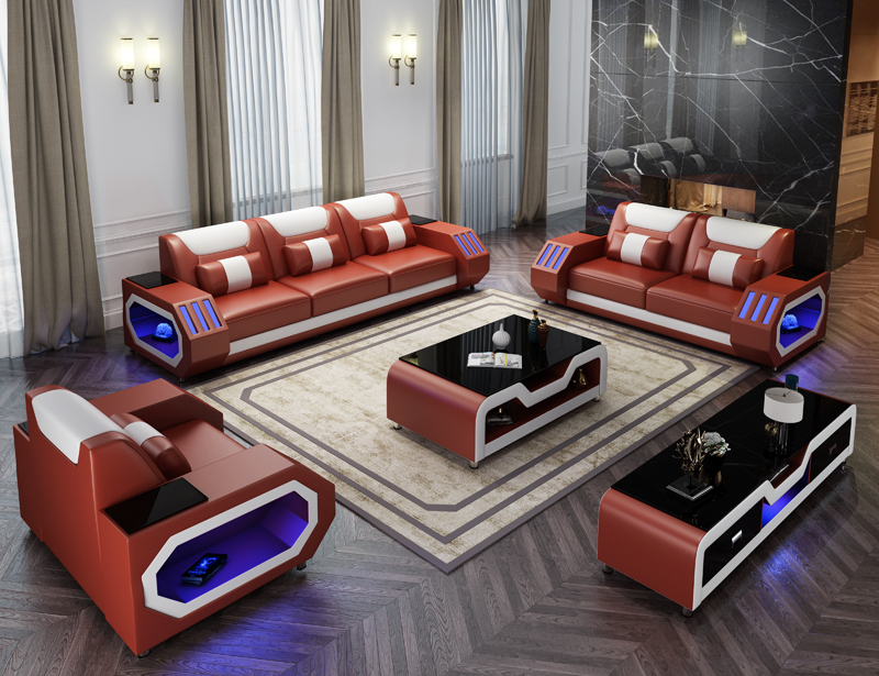 US $2320.0 |modern living room led light sofa black leather sectional  couch-in Living Room Sets from Furniture on AliExpress