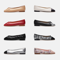 Women's Single Shoes Genuine Leather Shoes Women Luxury Designer Mixed Color Loafers Casual Flat Shoes Cover Feet Womens Flats