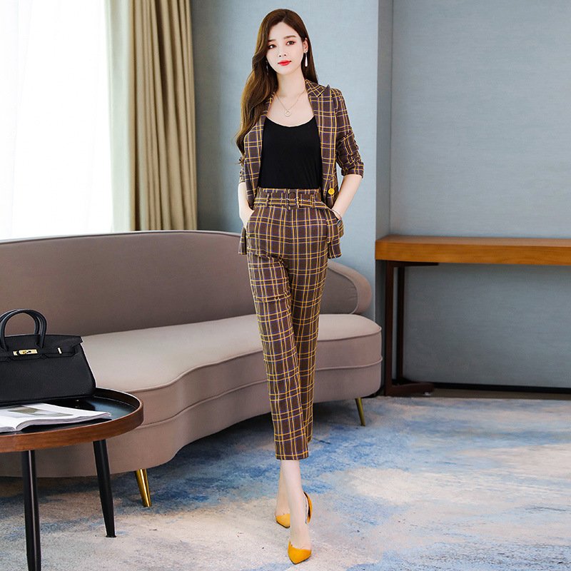 High Quality Professional Women's Suits New Autumn Slim Long-sleeved Plaid Ladies Jacket Casual Office Trouser Suit Two-piece