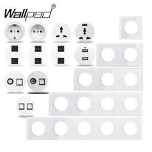 Wallpad L6 White Crystal Glass Wall Light Switch EU French Socket USB Charger RJ45 CAT6 Modules DIY Free Combination cheap CN(Origin) ROHS L6 DIY Copper Switches 2 years L6-DIY Push Button Switch L6 Plates Plug Powering Data Connection AC 110~250V 50~60Hz