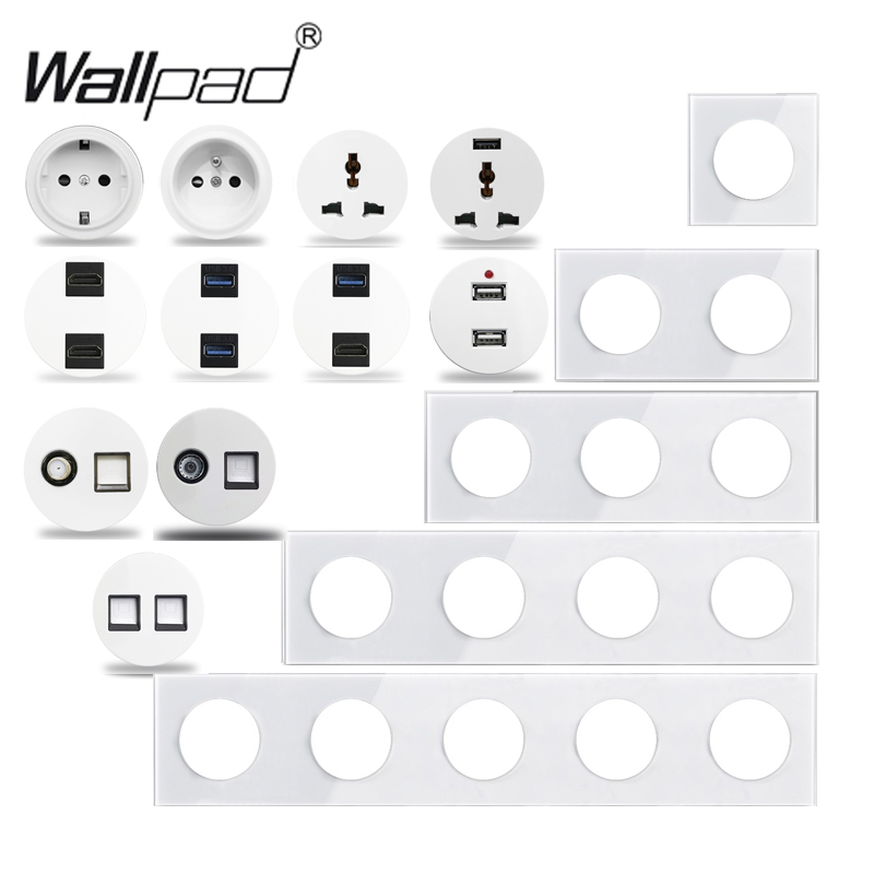Wallpad L6 White Crystal Glass Wall Light Switch EU French Socket USB Charger RJ45 CAT6 Modules DIY Free Combination