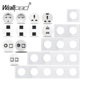 Wallpad L6 White Crystal Glass Wall Light Switch EU French Socket USB Charger RJ45 CAT6 Modules DIY Free Combination - discount item  40% OFF Electrical Equipment & Supplies