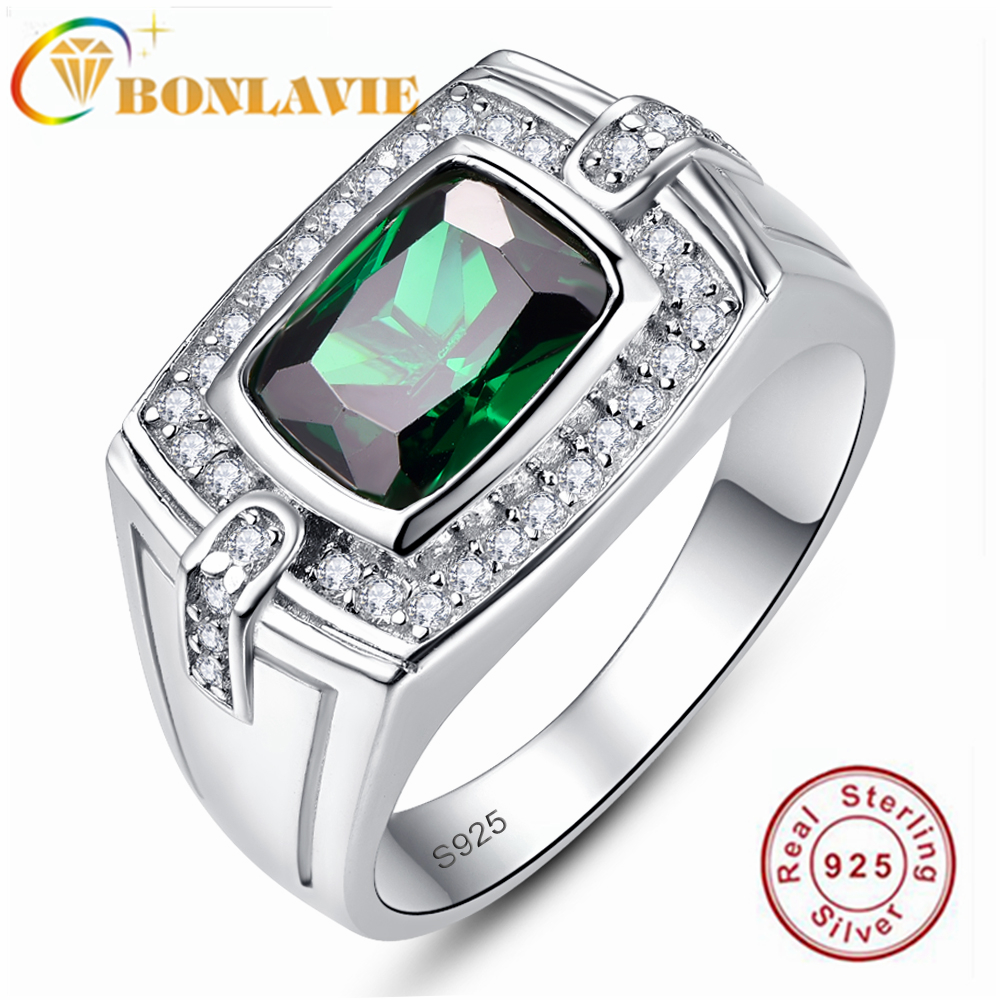 BONLAVIE 925 Sterling Silver Long Cushion Emerald with Small Diamond Men's Ring for Wedding and Engagement Gift