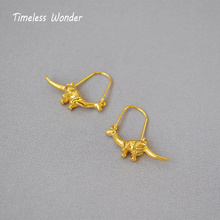 Timeless Wonder Brass Dinosaur Pig Drop Earings Fashion Jewelry Women Punk Runway Gothic Aretes Boho Indian Korean 1622