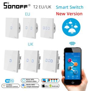 Image 1 - SONOFF T2 EU/UK 1/2/3 Gang Wifi Wall Panel Light Switch Socket 433mhz RF/Touch/eWelink Wireless Remote Control Google Home Alexa