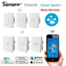 SONOFF T2 EU/royaume uni 1/2/3 Gang Wifi panneau mural interrupteur prise 433mhz RF/tactile/eWelink télécommande sans fil Google Home Alexa