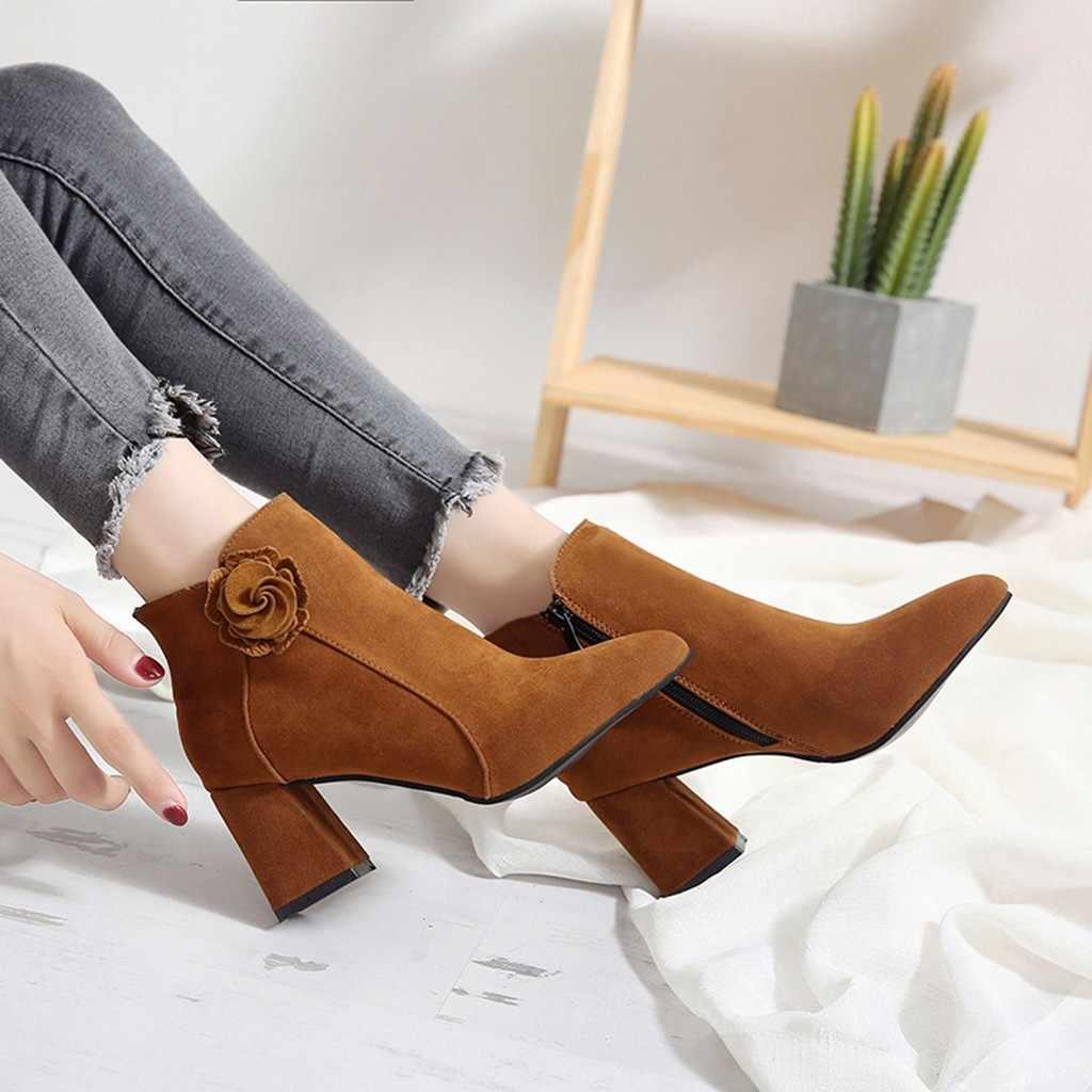 Hoa 2019 Mới Giày Giày Bốt Nữ Dây Kéo Bên Hông Giày Dày Gót Nữ Thu Đông Nữ Đùi Cao Cấp Giày