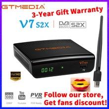 Gtmedia v7s s2x hd receptor de satélite 1080p DVB-S2 atualizado por gt media v7s hd incluem usb wifi h.265 decodificador nenhum aplicativo