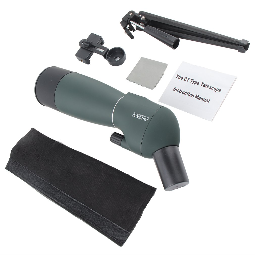 Angled Spotting Scope Zoom Lens Waterproof With Tripod Phone Adapter High Definition Night Vision Watching Telescope 25 75*70|Mobile Phone Lens| |  - title=