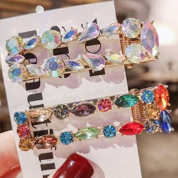 1PC Korea Fashion Imitiation Gemstone Hair Clip Snap Barrettes Girl Handmade Pearl Flowers Hairpins Women Accessories