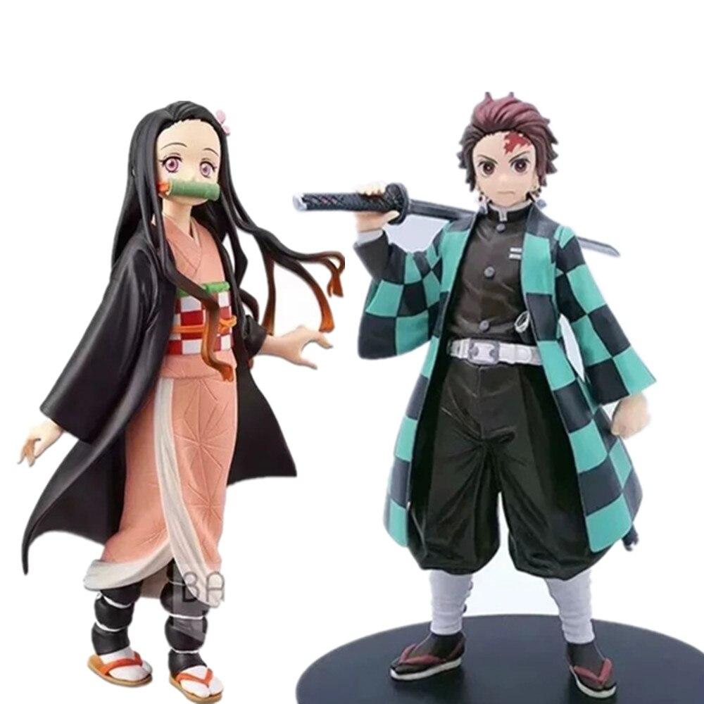 Demon Slayer Tanjirou Nezuko Anime Kimetsu não Yaiba Estatueta Ação PVC Figuras Brinquedos Modelo