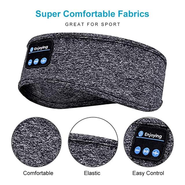 Wireless Bluetooth Sleeping Headphones Sports Headband Soft Elastic Comfortable Music Headset Speakers Hands-free For Running 3
