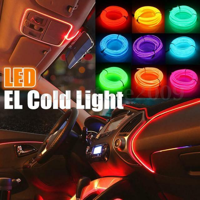 1~5M Neon LED Light Glow Flat Edge EL Wire String Strip Rope Tube Light Car Interior Atmosphere Decor Lamp  decorated prop
