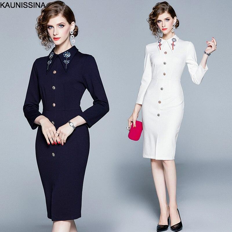 KAUNISSINA 2019 New Autumn Dress Elegant Cocktail Gown Beading Turn Down Collar Knee Length Beading Luxuxy Pencil Dresses