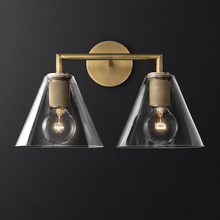 Nordic Iron Glass LED Wall Lamps Indoor Decor Cone Sconces Light Fixture Living Room Bedroom Bedside Corridor Design Wall Light(China)