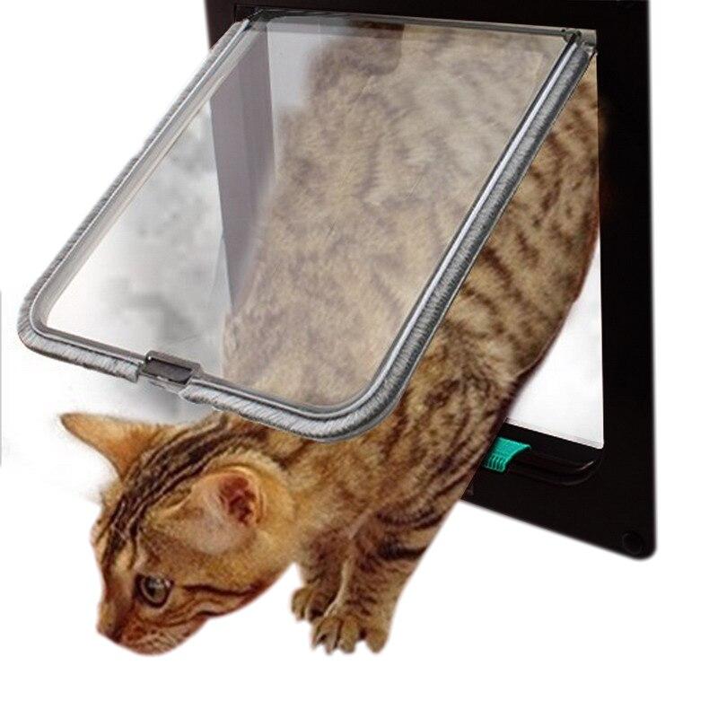 4 vías con cerradura perro gato gatito seguridad de puertas solapa Puerta de plástico ABS S/M/L animales Gato perro puerta para mascotas