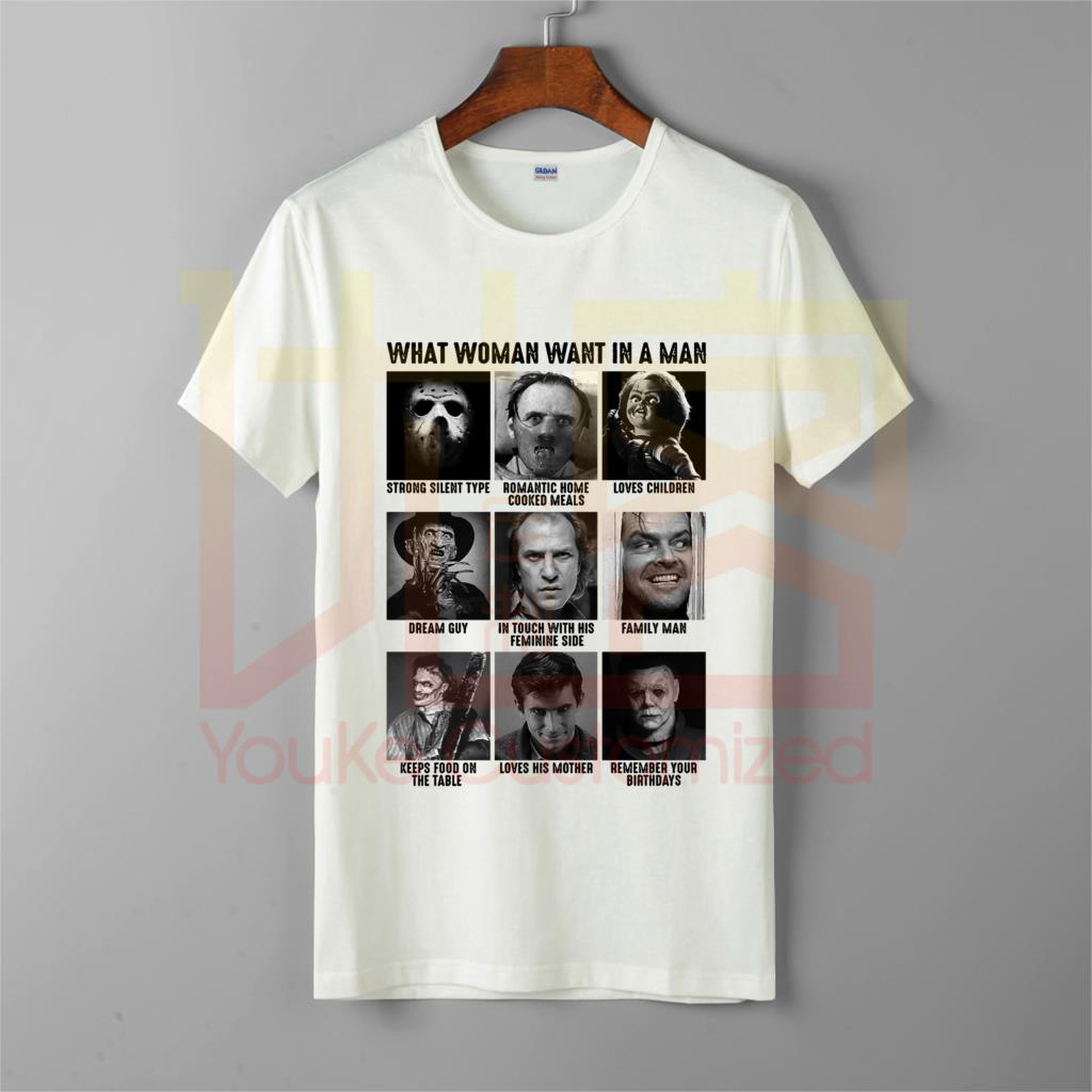 Halloween Horror Characters What Woman Want In A Man t shirt men's O-Neck 100% cotton custom printed T-Shirt Tops Tee image