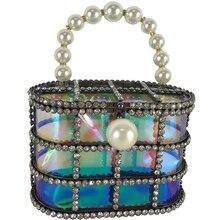 luxury evening bag brand design small fashion popular pearl diamond bird cage basket handbag Messenger shoulder