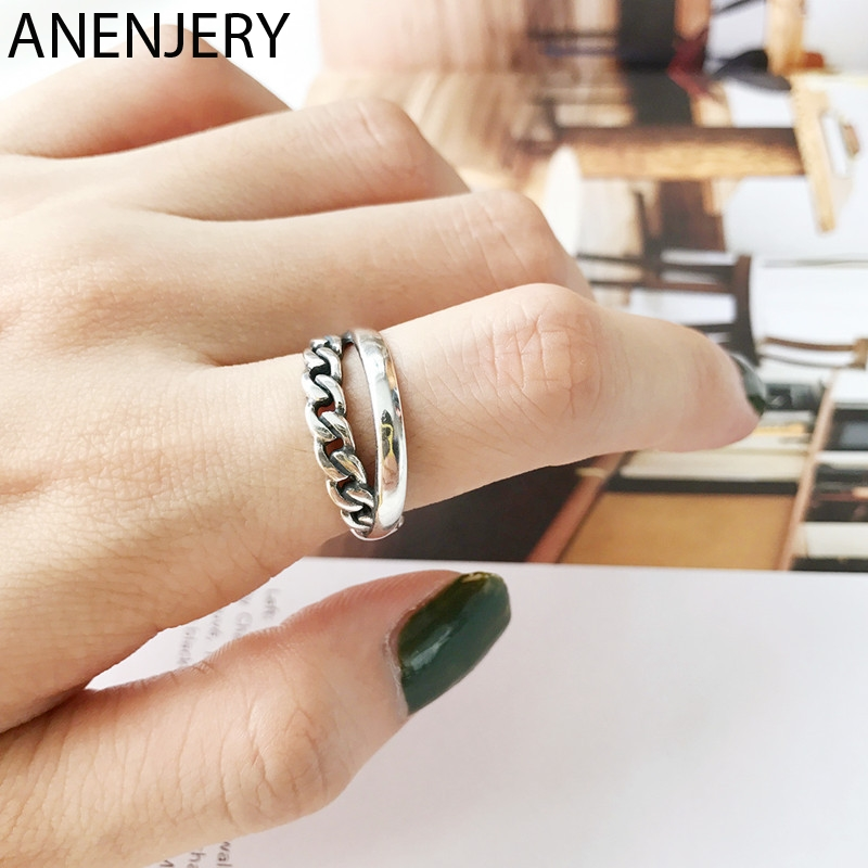 ANENJERY Double Layer Cross Lock Chain Thai Silver Ring 925 Sterling Silver Open Size Ring For Women Party Jewelry S-R608