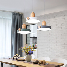 Modern Nordic LED Pendant Lamp Wood and Metal Hanging lights 12W 3 colors Switchable Bedside Dining Room
