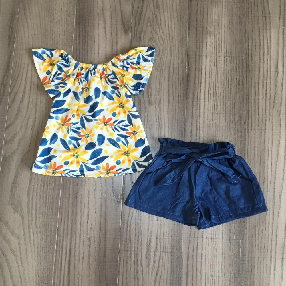 Baby Girls Summer Outfits Girl Floral Shirt With Blue Short